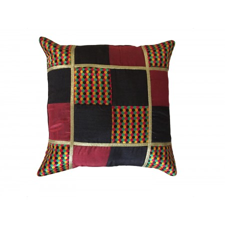 Maroon & Black Checks Cushion