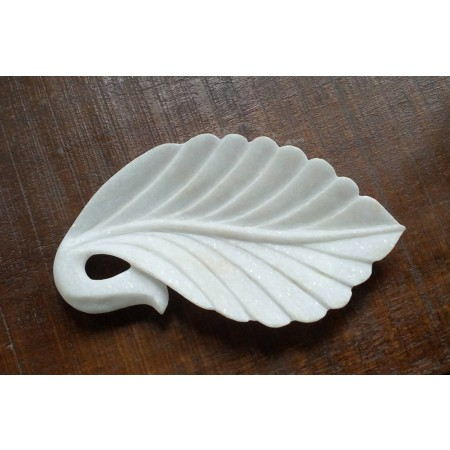 White Marble Leaf Bowl