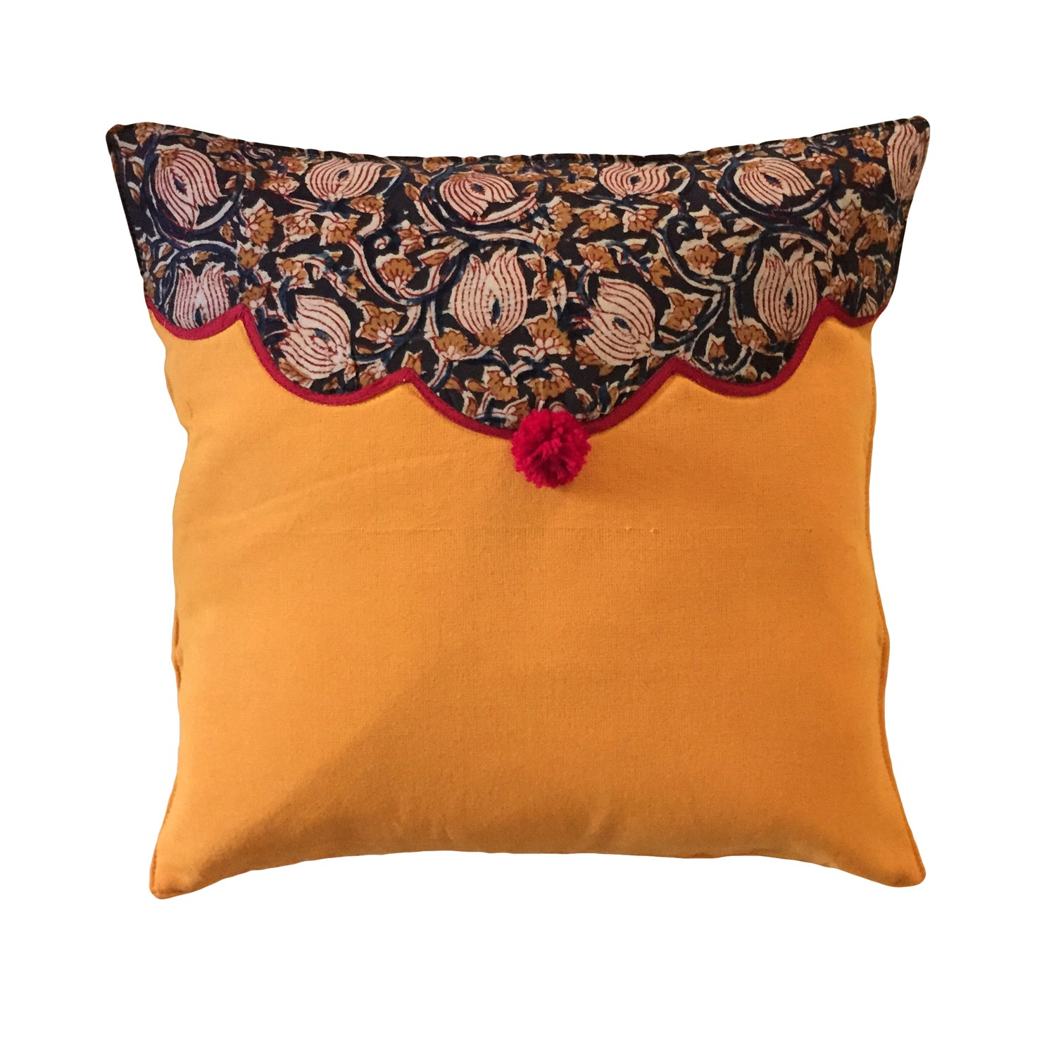 Yellow with Kalamkari Patch Cushion