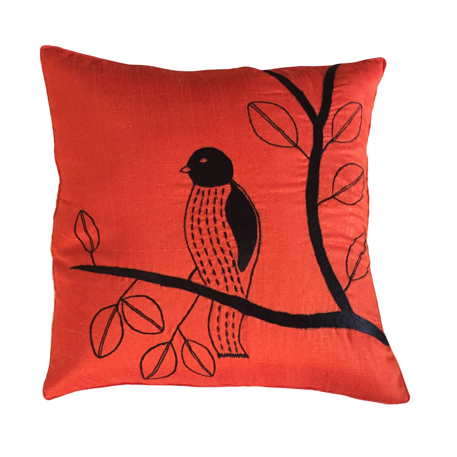 Orange with Bird Embroidery