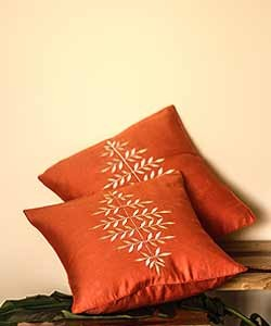 Orange with Leaves Embroidery Cushion