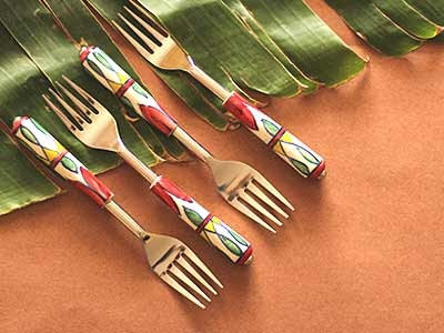 Multicoloured Steel and Ceramic Forks