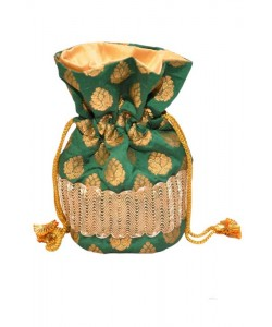 Green Brocade Potli