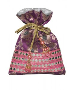 Purple Brocade Potli
