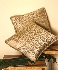 Gold Print Brocade Cushion