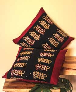 Navy Blue & Maroon Kalamkari Cushion