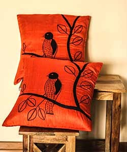 Orange with Bird Embroidery Cushion Cover