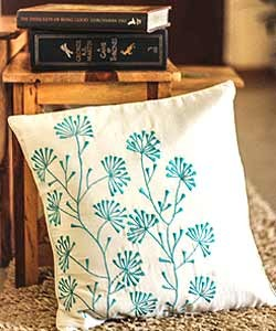 Cream with Turquoise Embroidery Cushion